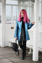blue metallic yumi direct coat - black faux leather H&M skirt