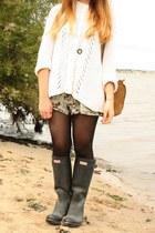 Topshop jumper - Hunter boots - H&M bag - Ebay romper
