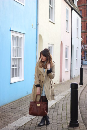 beige trench coat asos coat - black leather Topshop boots