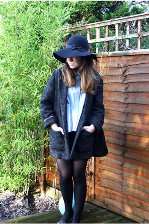 light blue DIY shirt - black Primark hat - gray asos jacket - black TK Maxx bag