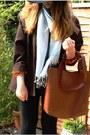 Burnt-orange-vintage-blazer-light-blue-vintage-scarf-bronze-ebay-bag
