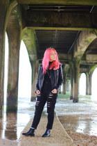 black distressed Boohoo jeans - black leather Zara jacket