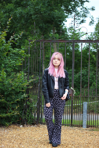 black faux leather Zara jacket - light pink H&M top - black asos pants