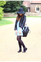 light blue pinafore denim Ebay dress - black leather Ebay jacket