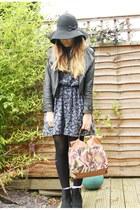 black River Island boots - navy thrifted vintage dress - black Ebay jacket