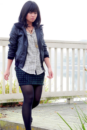 gingham Nordstrom shirt - bomber Superdry jacket - checkered Peppermind skirt