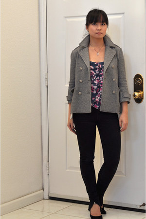 peacoat gryphon coat - Tsubi jeans - floral tank madewell top