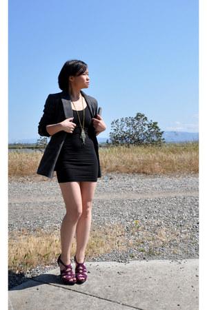 American Apparel dress - madewell blazer - Steve Madden sandals - Forever 21 nec