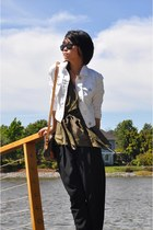 denim MO jacket - layered Anthropologie top - kissan Theory pants