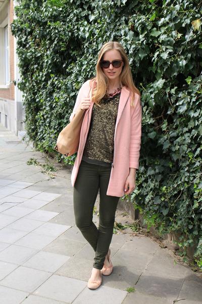 bubble gum Zara coat - tan Alexander Wang bag - light brown Prada sunglasses