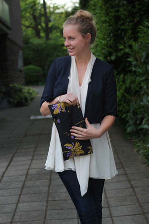 blue Prada bag - navy asos blazer