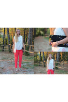 white Zara vest - navy Prada bag - coral Forever21 pants