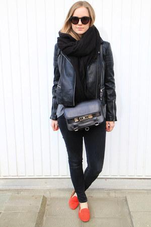 black leather whistles jacket - black PROENZA SCHOULER bag