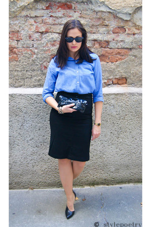 H&amp;M blouse - Zara heels - H&amp;M skirt - Ray Ban glasses