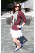 dark brown vintage jacket - maroon Sparkle & Fade sweater - beige scarf