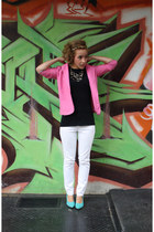bubble gum thrifted blazer - white Forever 21 jeans