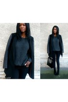 black leather sleeve Stradivarius coat
