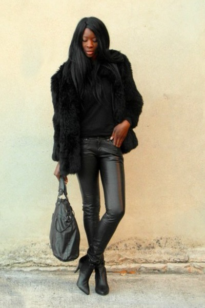 black faux fur vintage coat