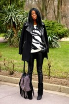 black coat - black zebra Mango jumper