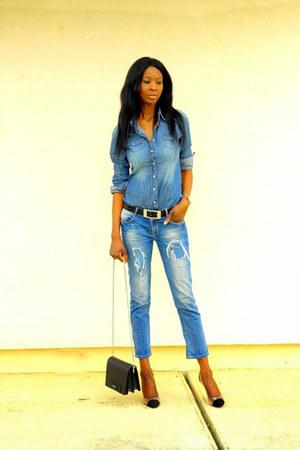 navy jeans Esprit shirt