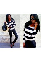 black coated H&M jeans - ivory striped H&M jumper