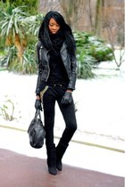 black wedges Choies boots - black bottom studded chicnova bag