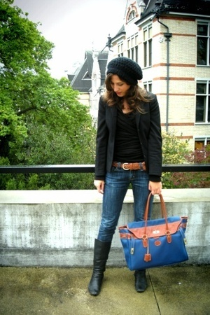 H&M blazer - H&M hat - vintage purse - H&M belt