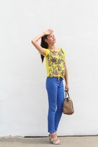 blue dl1961 jeans - Gucci bag - yellow paisley Loft top