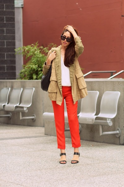 army green Zara jacket - orange silk bcbg max azria pants - Zara blouse