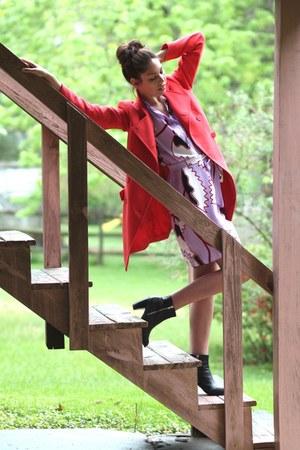 lavender Diane Von Furstenberg dress - asos boots - poppy trench Forenza jacket