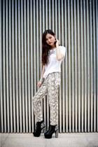 snake print H&M pants - spike lita Jeffrey Campbell shoes