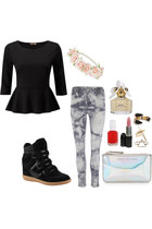 peplum top - techno clutch Marc by Marc Jacobs bag - bleached Villa Jeans pants