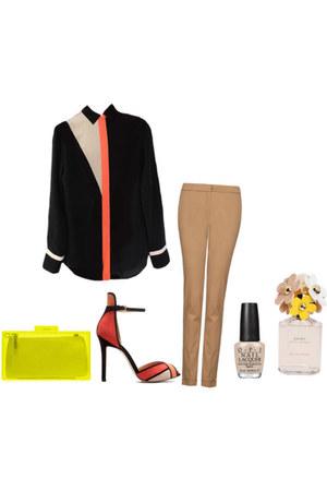 neon box clutch bag - pants - heels - asymmetrical blouse