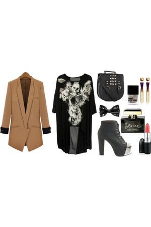 blazer - shirt - Steve Madden purse - Jeffrey Campbell heels - pyramid earrings