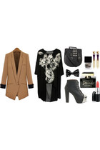 blazer - shirt - Steve Madden purse - Jeffrey Campbell heels - pyramid earrings