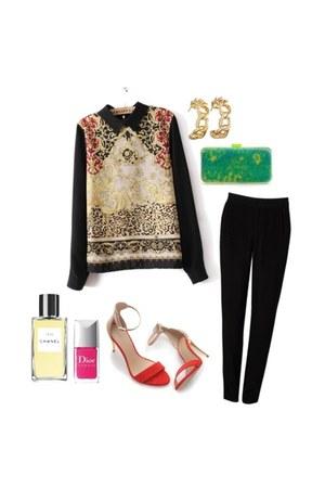 blouse - minimalistic shoes - caviar clutch bag - gold chain hoop earrings