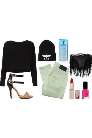 Religion Guilty jeans - Boy London hat - cropped knit sweater - bag - heels