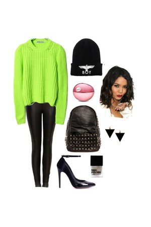sweater - hat - bag - pumps - leather pants - earrings