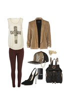 hat - colored denim jeans - velvet blazer - jersey shirt - faux leather bag