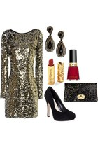 sequined dress - sequined Armani Exchange bag - RANJANA KHAN Elizabeth earrings