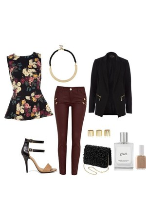 floral peplum top - boxy blazer - purse - necklace - heels - red coated pants
