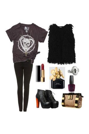 bag - t-shirt - vest - Jeffrey Campbell heels