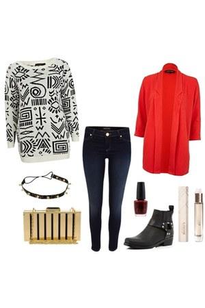 boots - jeans - geometric print sweater - chevron blazer - purse