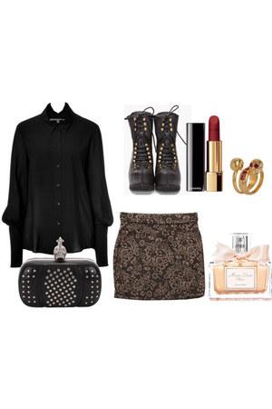 blouse - bag - skirt - Jeffrey Campbell heels