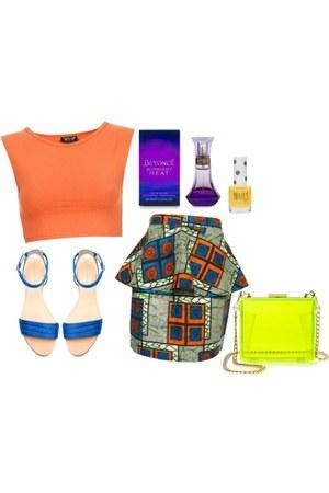 cropped shirt - bag - sandals - kente peplum skirt