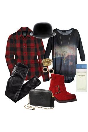 plaid jacket - shoes - galaxy print shirt - leather Chanel bag