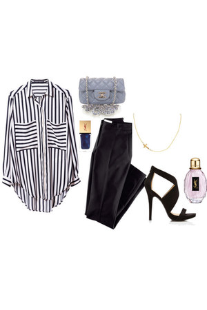striped shirt - quilted Chanel bag - pants - heels