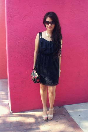 black lace Target dress - beige Payless Shoes pumps - gold Jewelry necklace