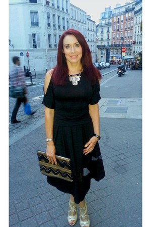 black leather studded asos bag - bronze leather Biba heels