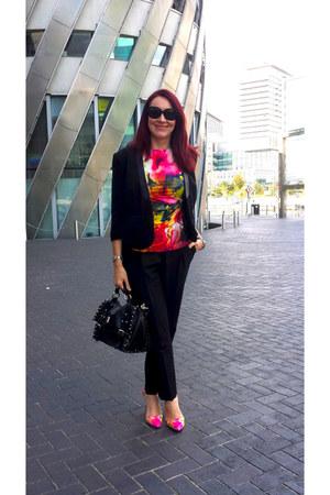 black Modalu bag - hot pink Carvela shoes - Marks and Spencer jacket